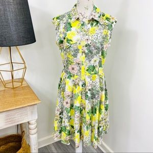 Target Shirt Dress Floral Yellow White Size 12